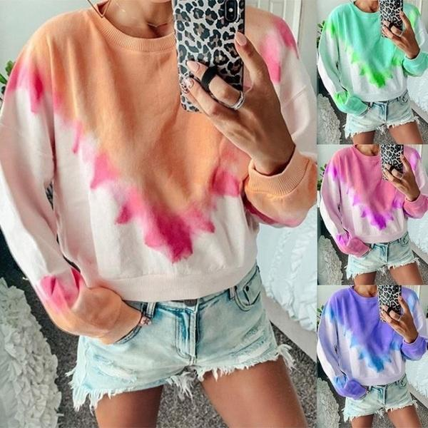 Fashion Tie Dye Printed Long Sleeve Tops