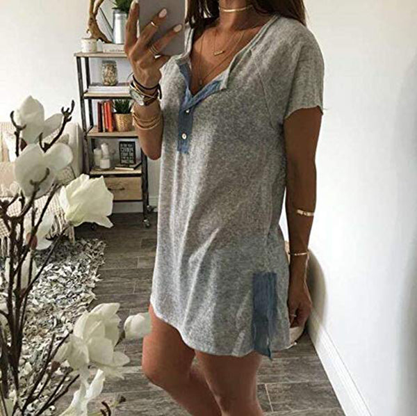 Plus Size Casual Solid Button Short Sleeve T-shirts