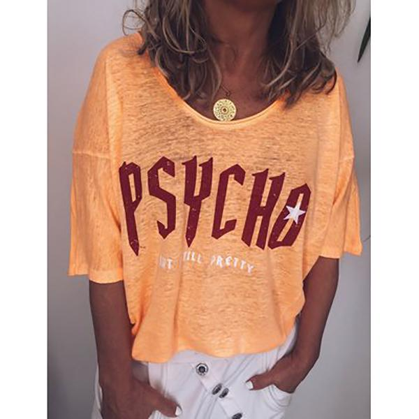Round Neck Printed Women's Short-Sleeved T-Shirt