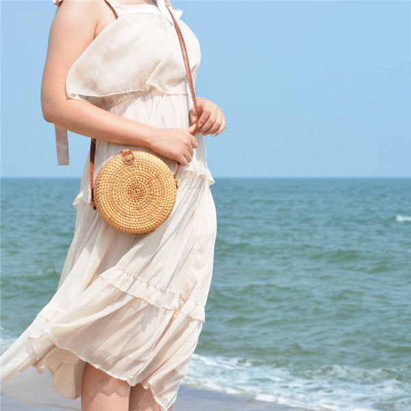 Women Retro RoundStraw Crossbody Bag Casual  Beach Bag