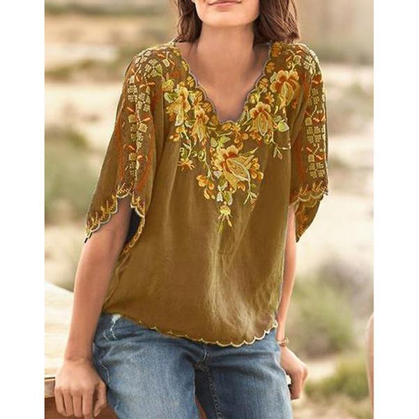 V Neck Floral  Casual Short Sleeve T-Shirt
