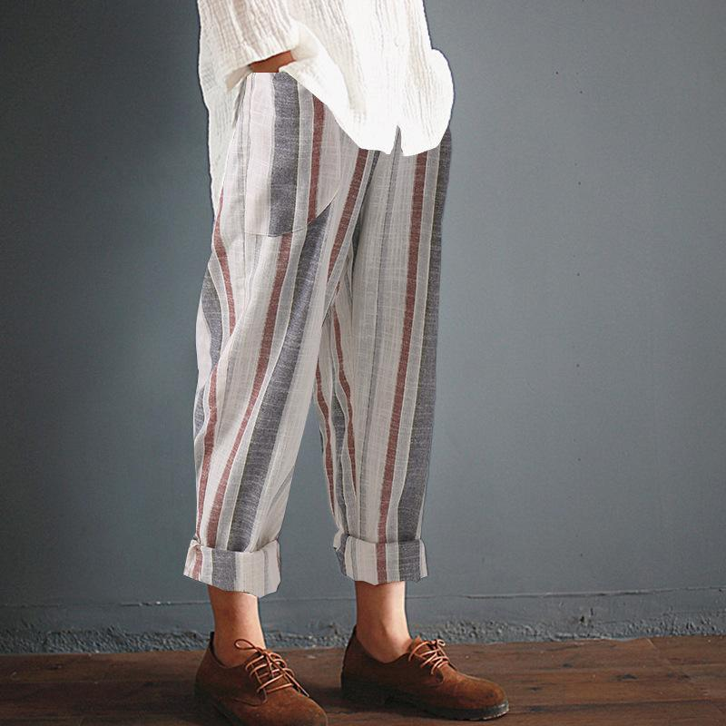 Unisex Casual Stripe Pants Leisure Plus Size Trousers