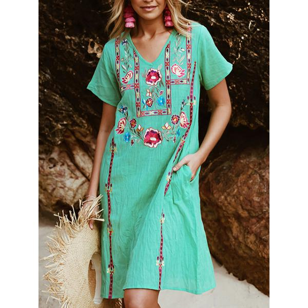 Printed V Neck Short Sleeve Boho Floral Dresses