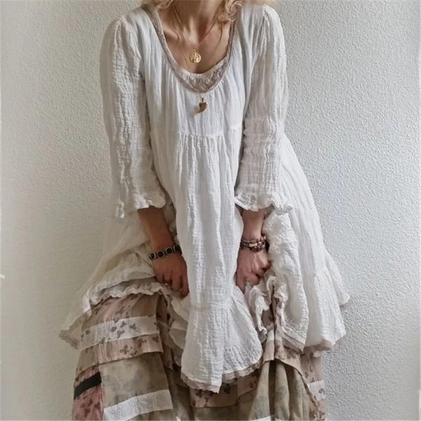 3/4 Sleeve Patchwork Casual Round Neck Dress
