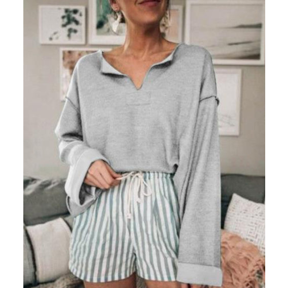 Women Solid Color Long Sleeve Casual Blouses