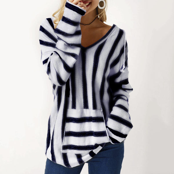 Hooded Collar Pocket Long Sleeve Striped Blouses
