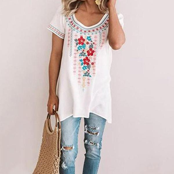 Plus Size Bohemian Printed Loose Blouse