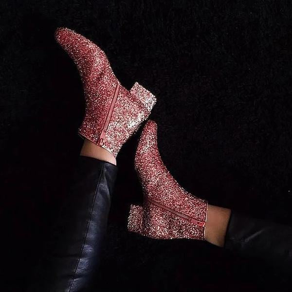 Casual Women's Fashion Sequins Solid Boots