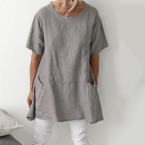 Casual Round Neck Linen Pocket Short Sleeve Top