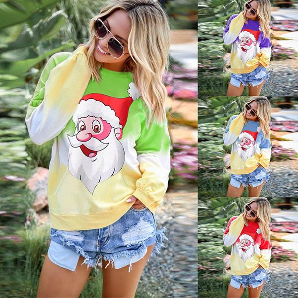 Christmas Print Rainbow Long Sleeve Sweater