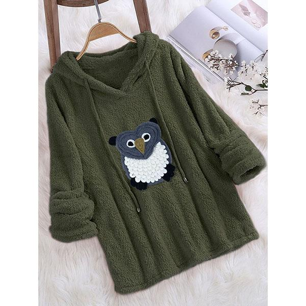 Plus Size V-Neck Owl Printed Hoodies