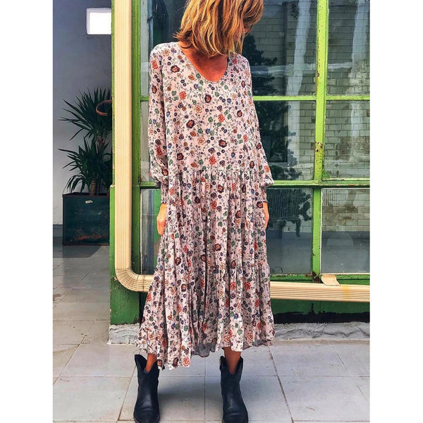 Floral Printed Casual Plus Size Long Sleeve Elegant Dress