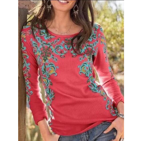 Embroidered Long Sleeve Casual Blouses