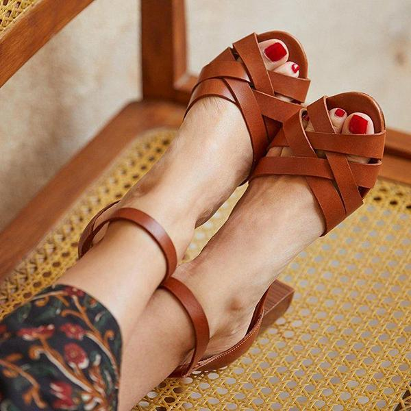 Vintage High Heel Simple Sandals