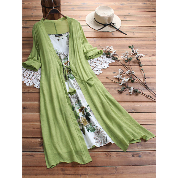Vintage Bohemian Print Lace Two-piece 3/4 Sleeve Dress