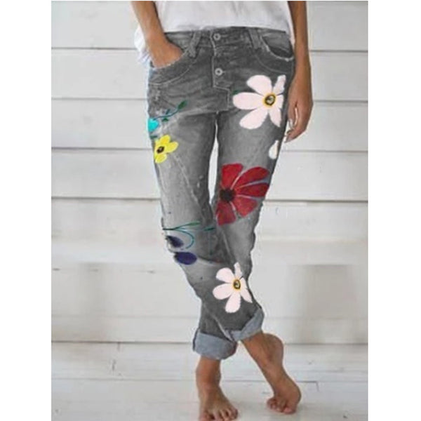 Women Jeans Floral Printed Slim Denim Pants