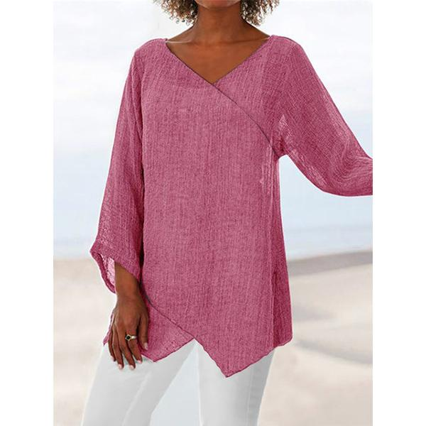 Cotton Blend Casual Slit 3/4 Sleeve Blouses