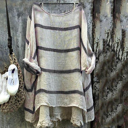 Loose Stripe Long Sleeve Blouse