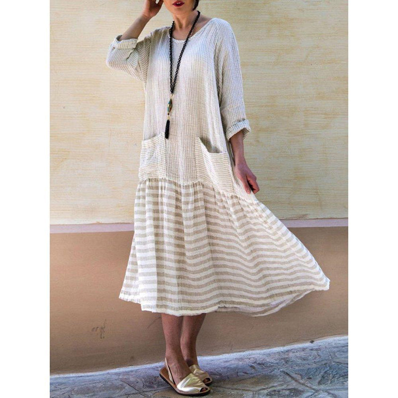 Women Cotton 3/4 Sleeve Casual Patchwork Dresses
