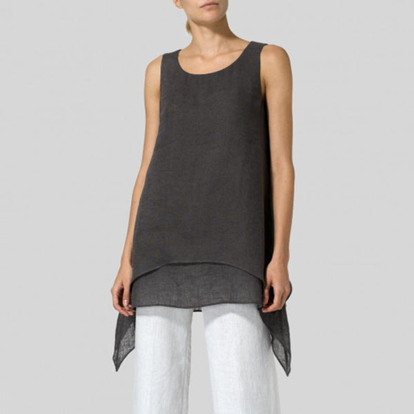 Plus Size Linen Round Neck Sleeveless T-shirt