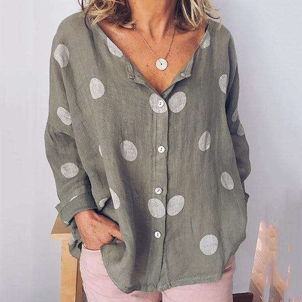 Plus Size Polka-dot Fashion V-neck Long-sleeved Shirt