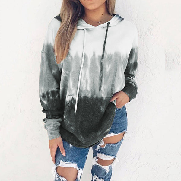 Women's Winter Printing Gradient Long Sleeve Hoodies
