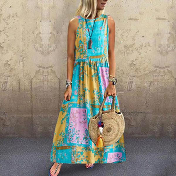 Printed Crew Neck Sleeveless Dresses