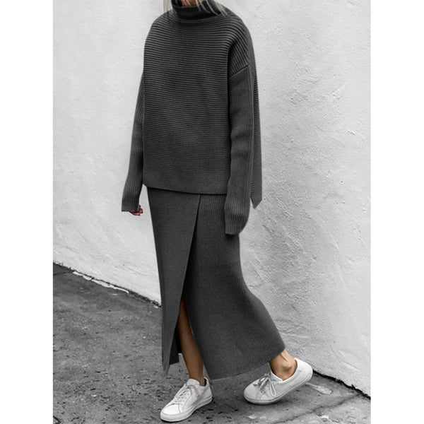 Turtleneck Long Sleeve Knitted Suits