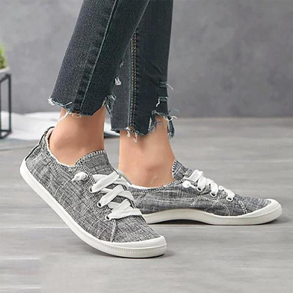 Solid Color Lace-Up Comfortable Flat Sneaker