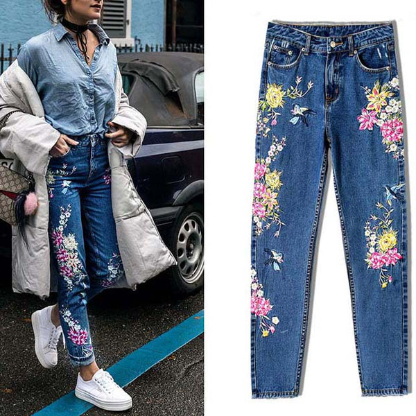 Fashion Straight  Jeans Long Floral Printed Embroidery High Waist Ladies Pants