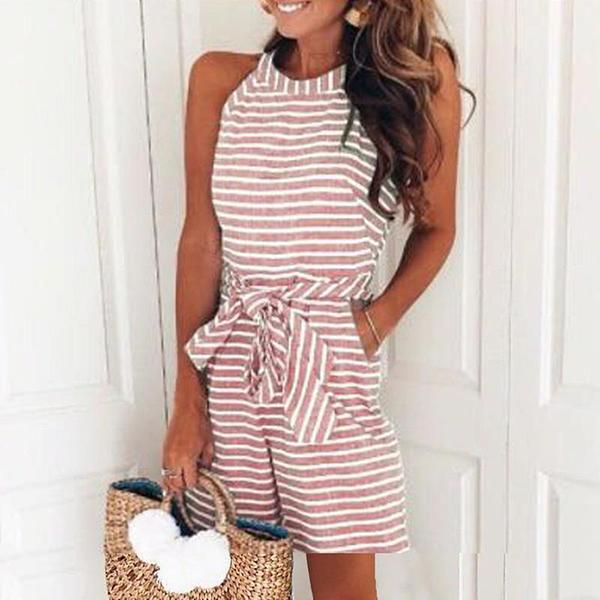 Fashion Striped Halter Short Jumpsuit
