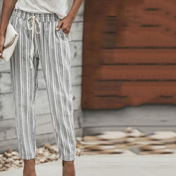 Casual Belt Striped Pants