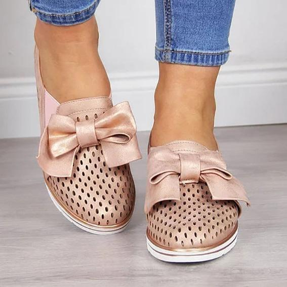 Women's Fashion Wedge Heel Bowknot Hollow-out Sneakers