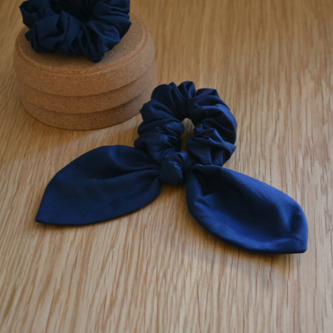 Upcycled Fabric Bow Scrunchie - Navy