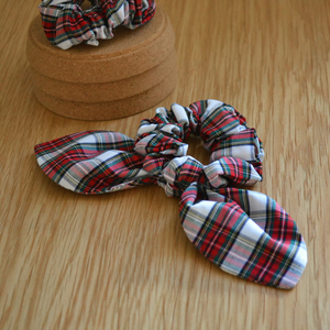 Upcycled Fabric Bow Scrunchie - Tartan