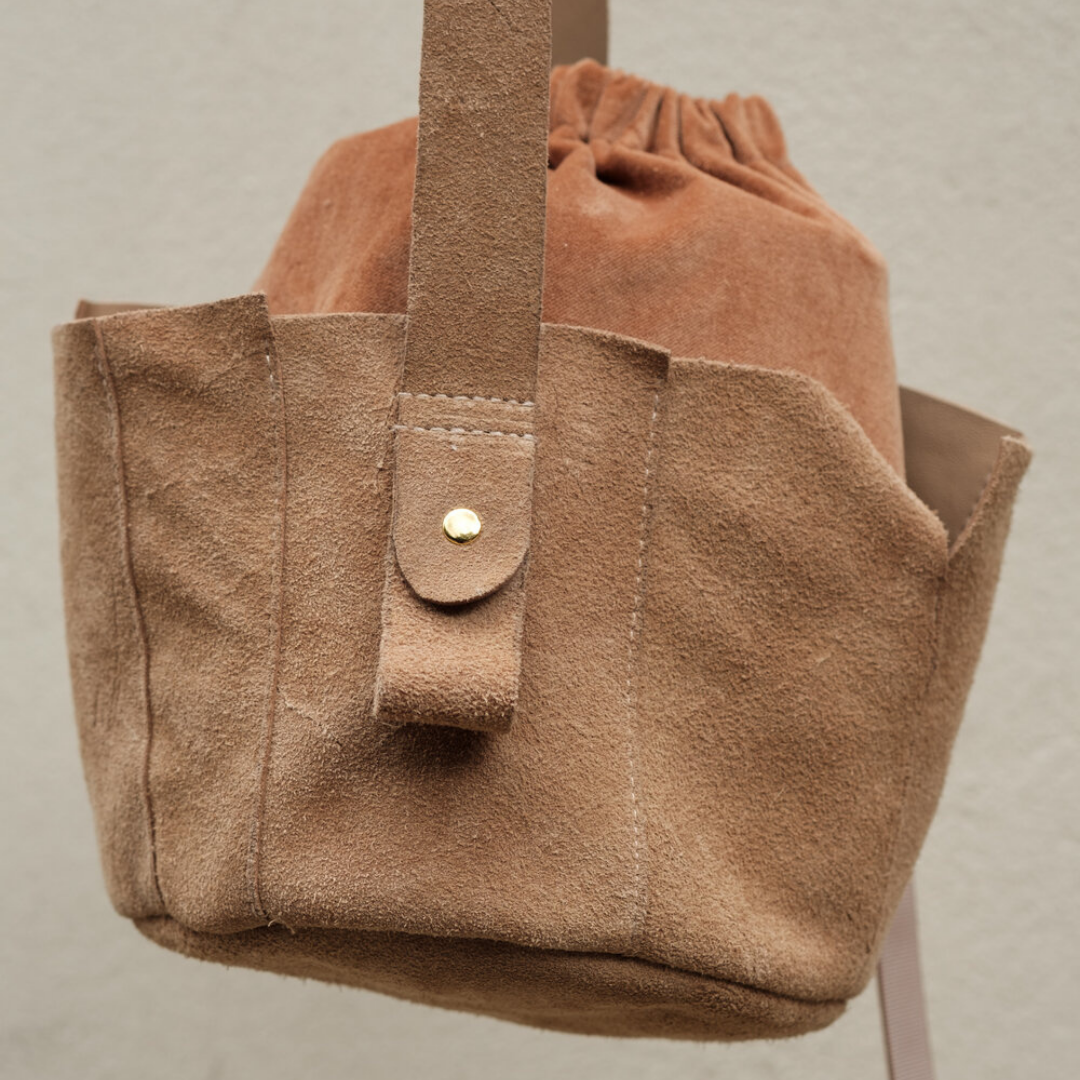 Upcycled Suede Wonky Bucket Bag