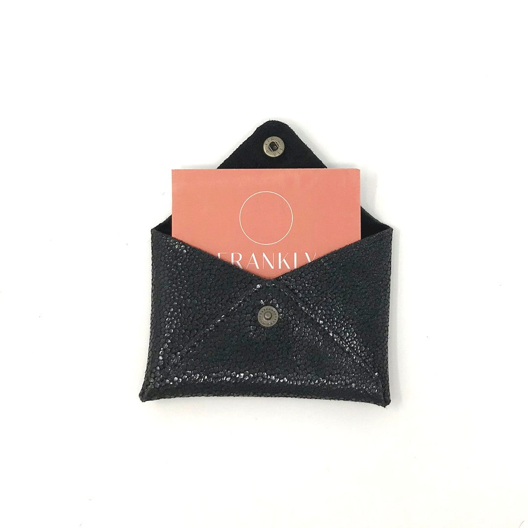 Recycled Leather Card Purse - Black