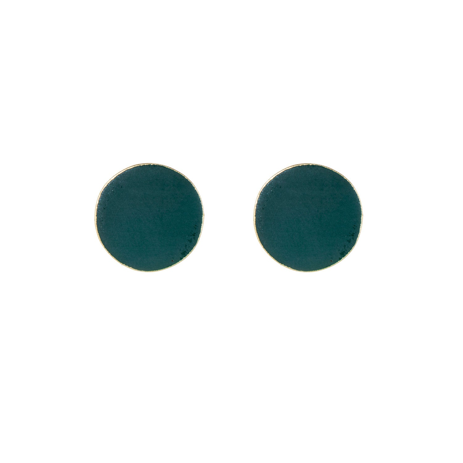 Round Forest Green Brass Studs