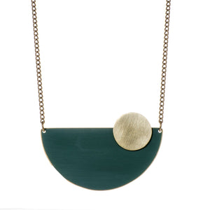 Semi Circle Forest Green Brass Necklace