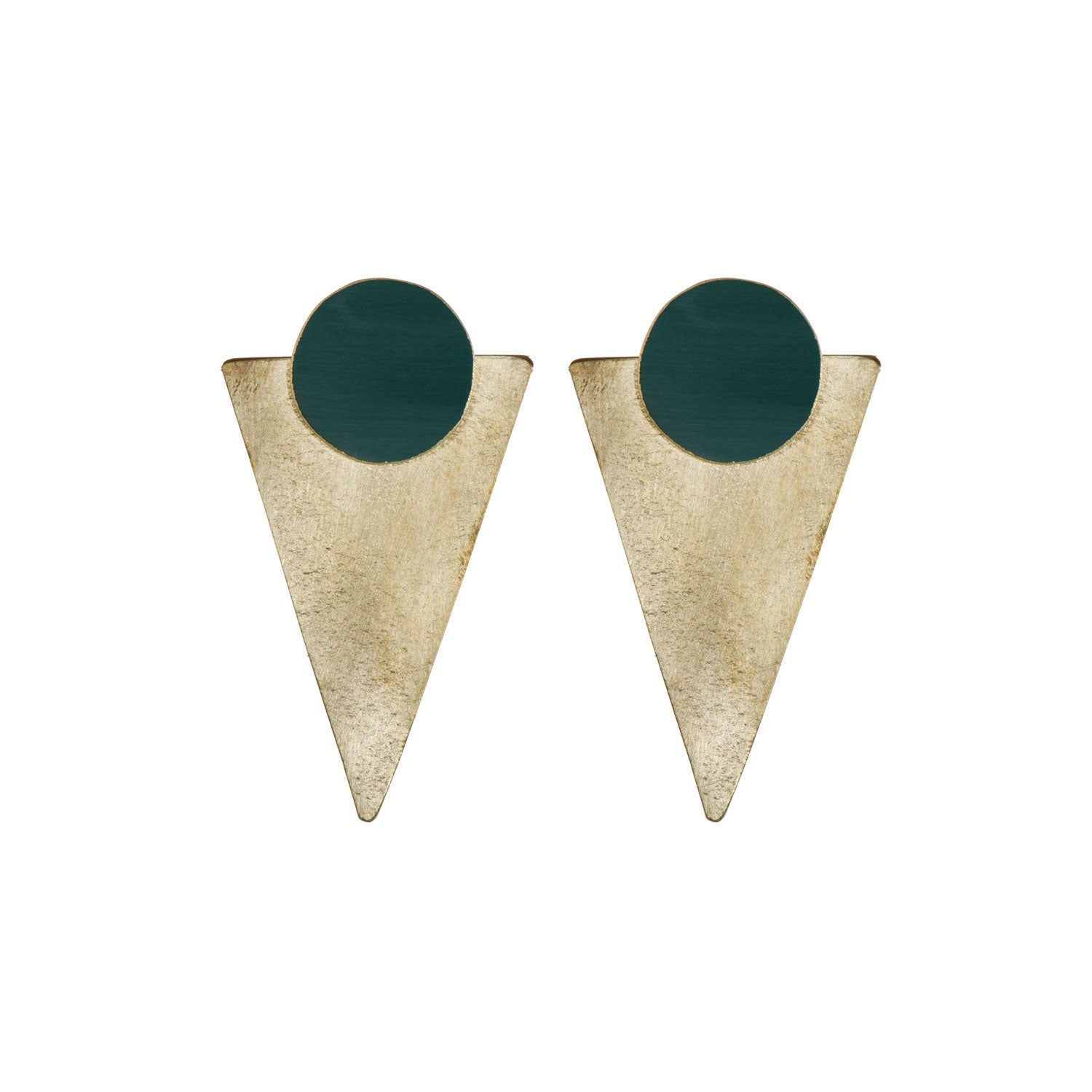 Statement Forest Green Brass Studs
