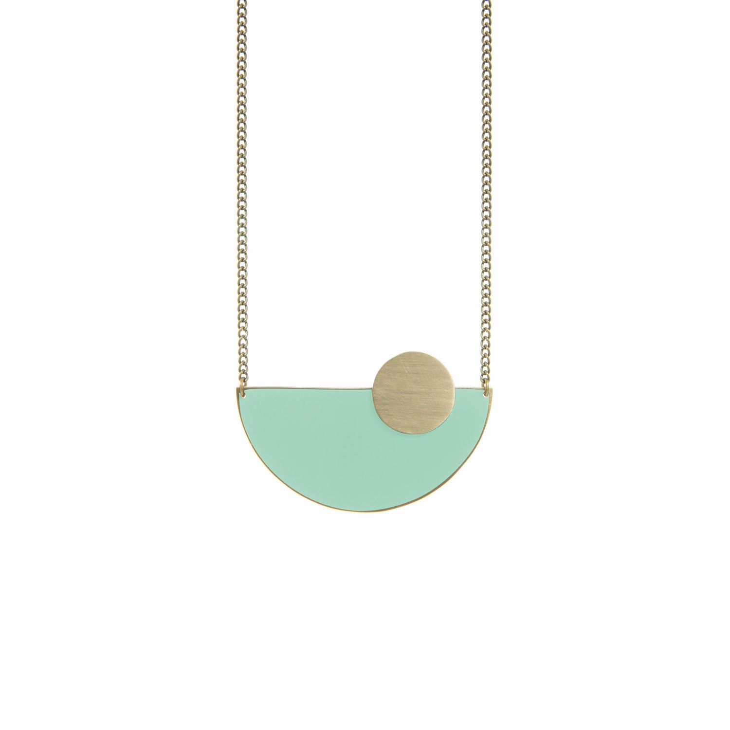 Semi Circle Mint Brass Necklace