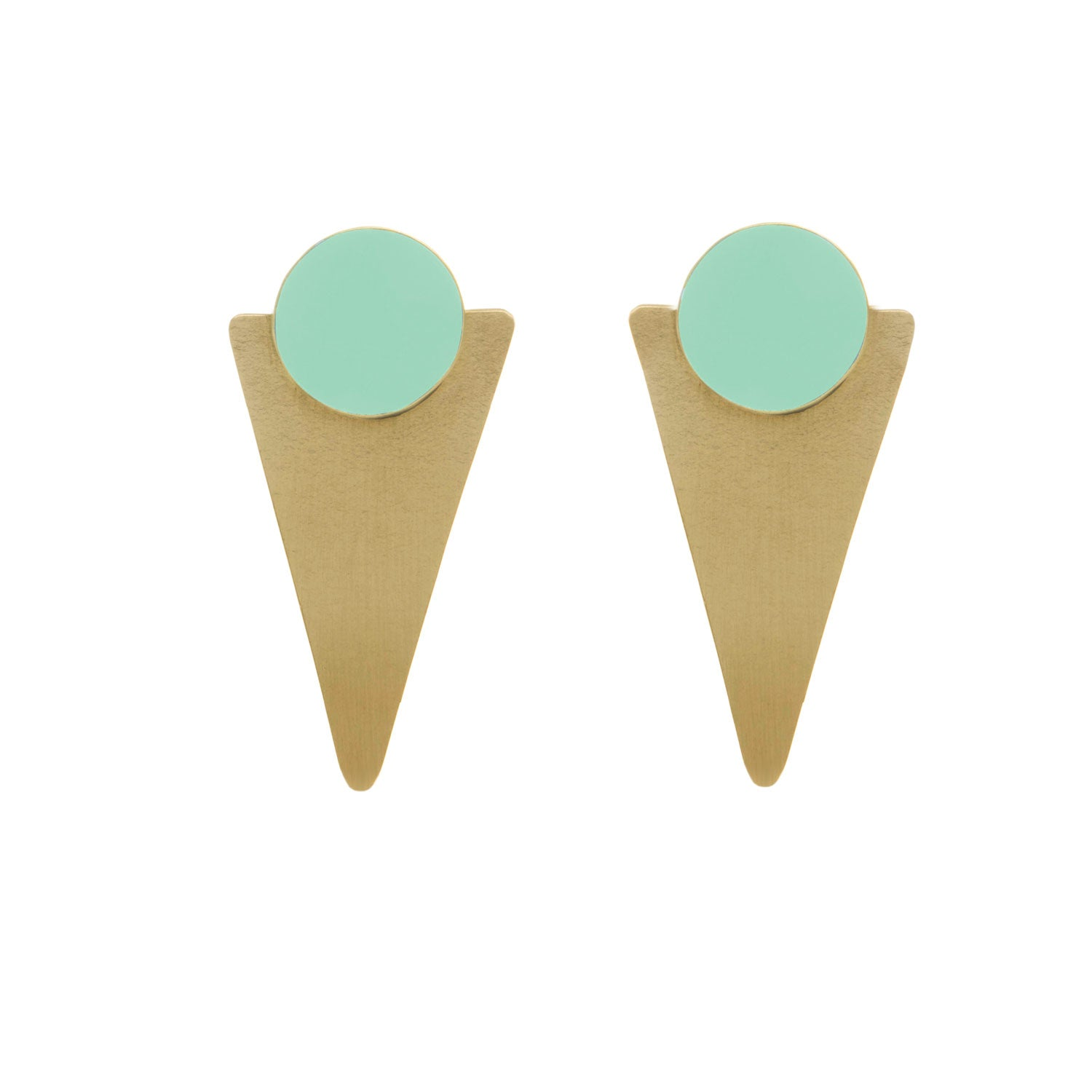 Statement Mint Brass Studs