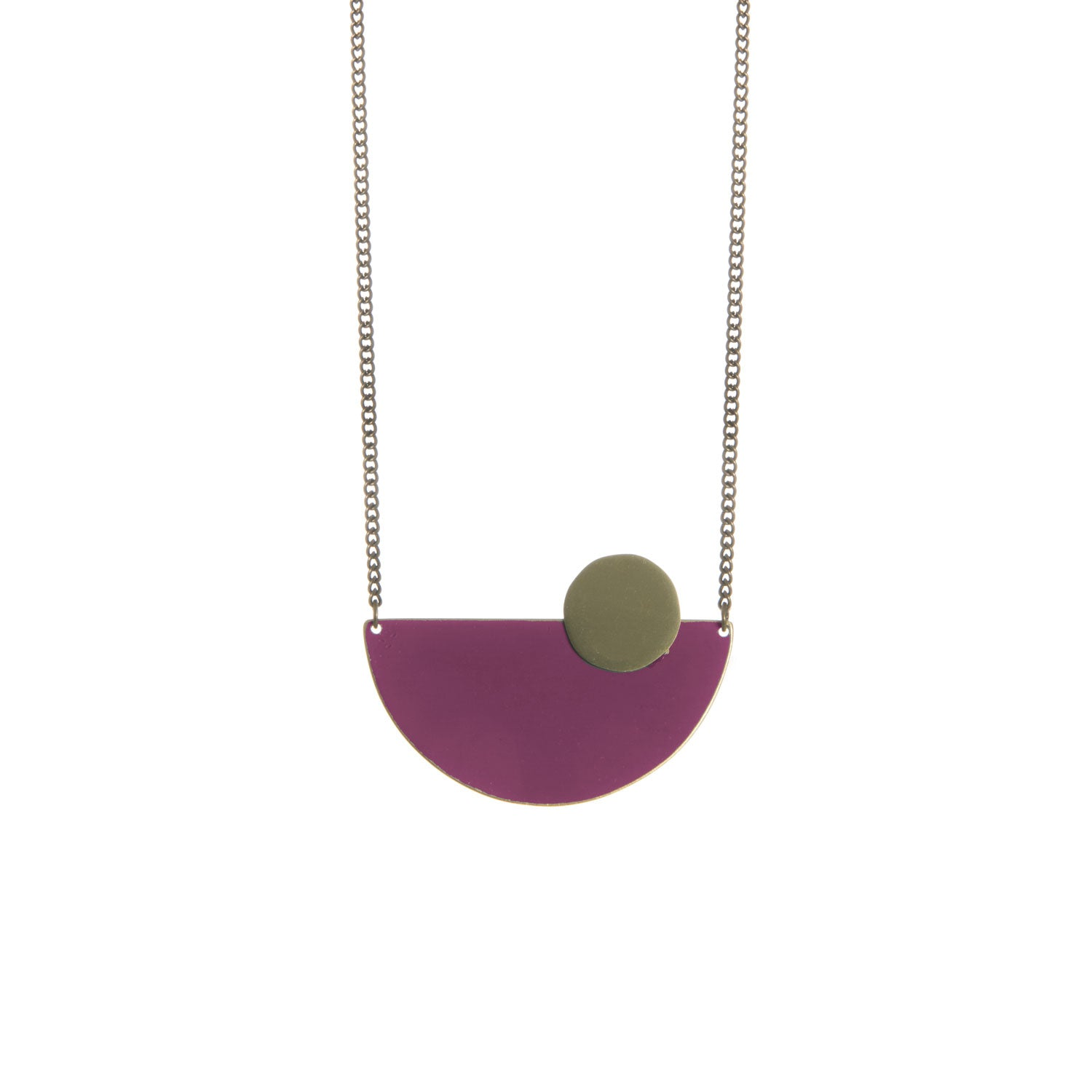 Semi Circle Plum Brass Necklace