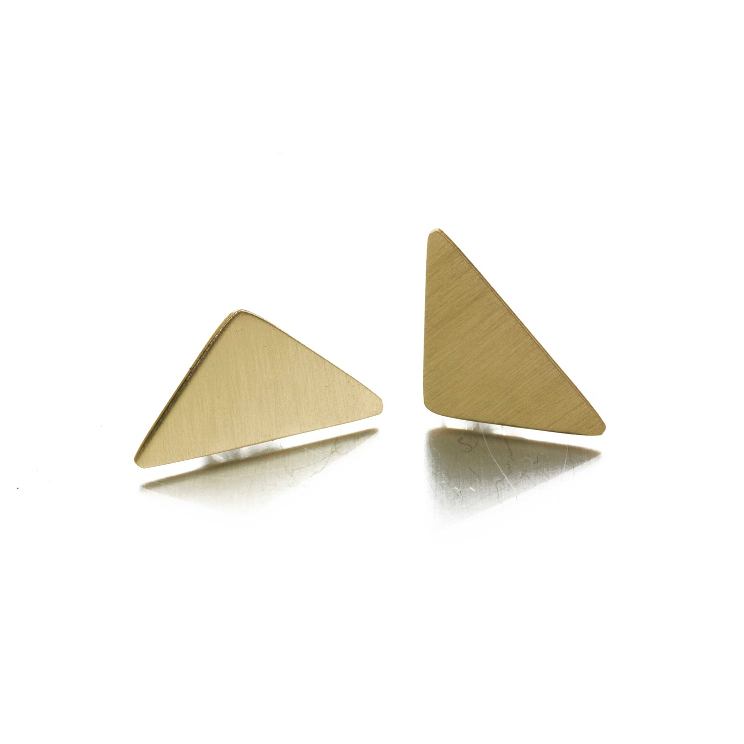 Geometric Brass Triangle Stud