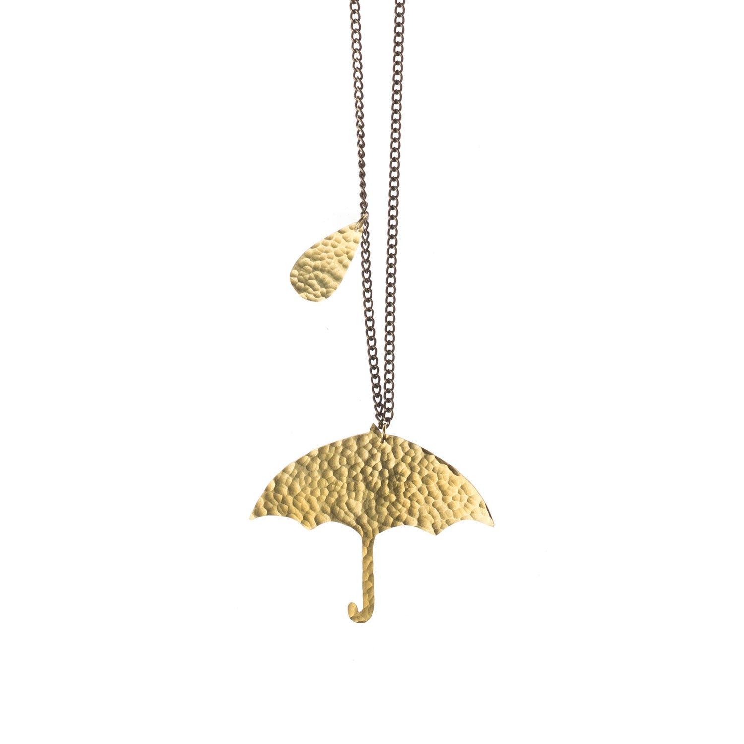 Hammered Brass Umbrella Pendant