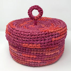 Up-Cycled Hat Box Basket - Lotus