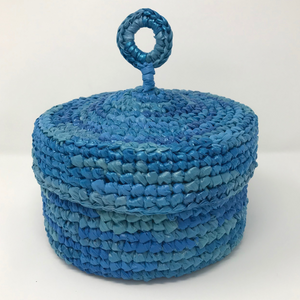 Up-Cycled Hat Box Basket - Sky
