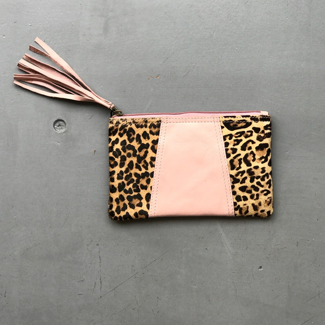 Recycled Leather Pouch Bag - Pink