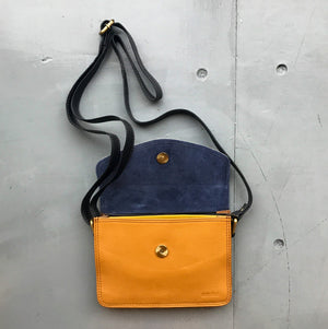 Recycled Leather Small Cross Body - Mustard & Spot