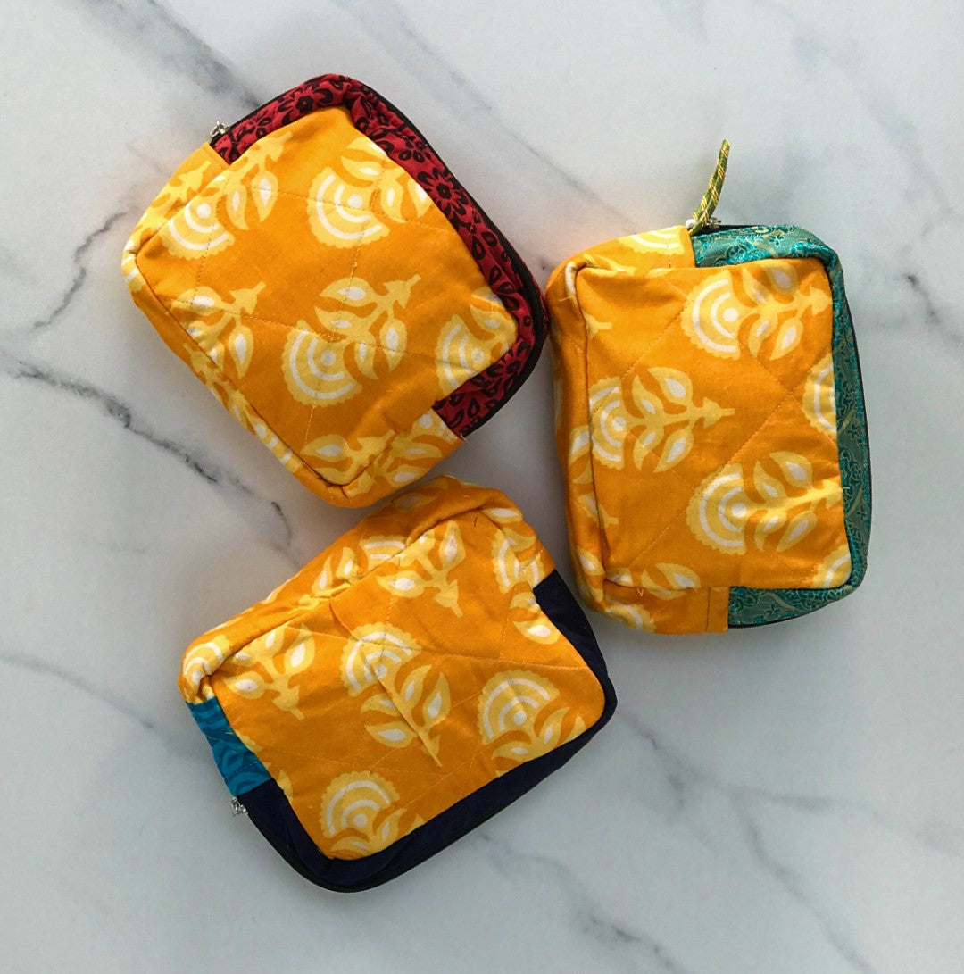Upcycled Sari Patchwork Box Bag - Yellow